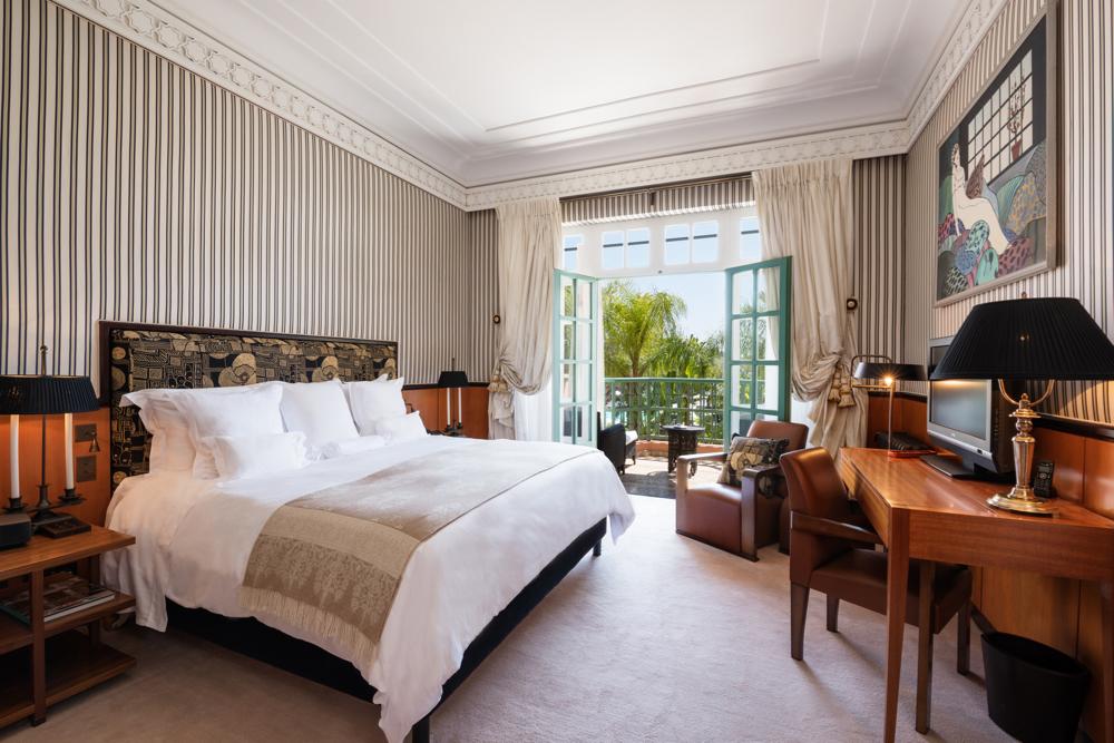 Bedroom, Suite Marqueterie, Room 180.  La Mamounia Hotel, Marrakech, Morocco. Photo by Alan Keohane www.still-images.net for La Mamounia