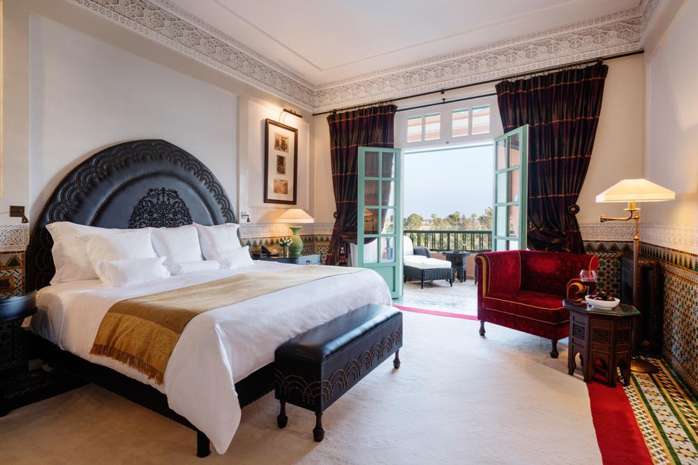Bedroom, Suite Executive Park.  La Mamounia Hotel, Marrakech, Morocco. Photo by Alan Keohane www.still-images.net for La Mamounia