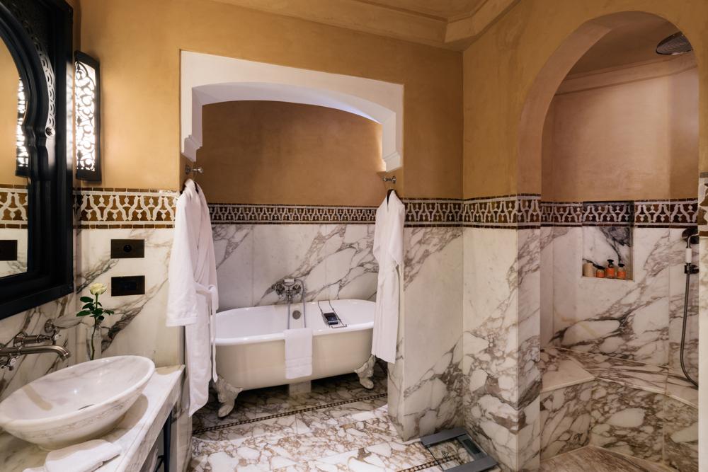 Bathroom, Suite Agdal, Room 144.  La Mamounia Hotel, Marrakech, Morocco. Photo by Alan Keohane www.still-images.net for La Mamounia