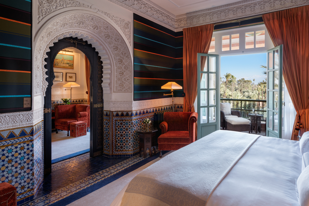 Bedroom, Majorelle Suite, Room 380.  La Mamounia Hotel, Marrakech, Morocco. Photo by Alan Keohane www.still-images.net for La Mamounia