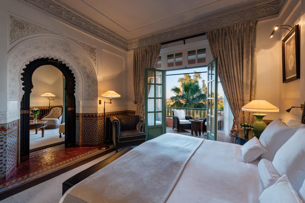 Bedroom, Koutoubia Suite, Room 330.  La Mamounia Hotel, Marrakech, Morocco. Photo by Alan Keohane www.still-images.net for La Mamounia