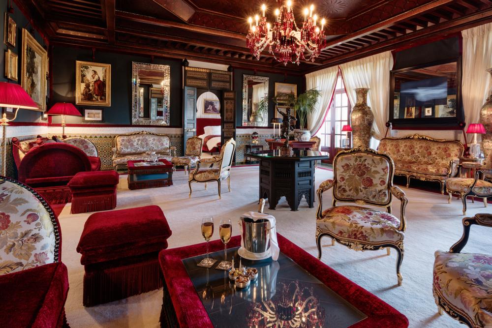 Salon, Al Mamoun Suite, Room 280.  La Mamounia Hotel, Marrakech, Morocco. Photo by Alan Keohane www.still-images.net for La Mamounia