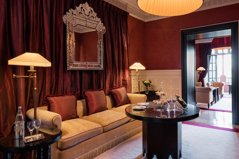 Salon, Suite Prestige, Room 240.  La Mamounia Hotel, Marrakech, Morocco. Photo by Alan Keohane www.still-images.net for La Mamounia