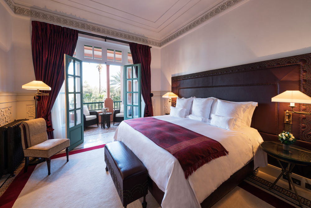 Bedroom; Suite Prestige, Room 240.  La Mamounia Hotel, Marrakech, Morocco. Photo by Alan Keohane www.still-images.net for La Mamounia
