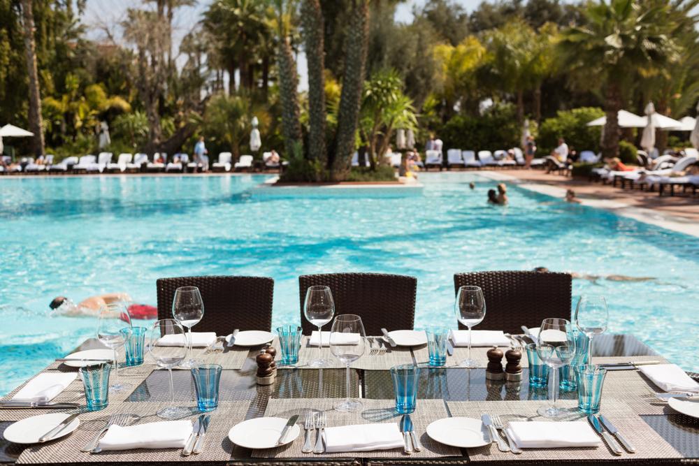 Terrasse, Pavillon de la Piscine, La Mamounia Hotel, Marrakech, Morocco. Photo by Alan Keohane www.still-images.net for La Mamounia